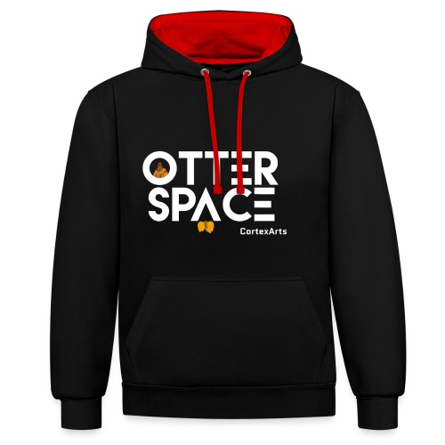 Otter space logo wit - Contrast Colour Hoodie