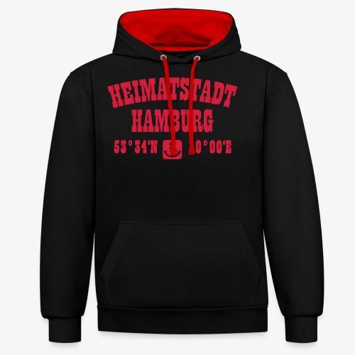 31 Heimatstadt Hamburg Koordinaten - Kontrast-Hoodie