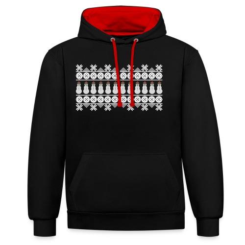 Ugly Christmas Weihnachten Xmas Norweger Design - Kontrast-Hoodie