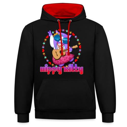 Hippy Kitty - Felpa con cappuccio bicromatica