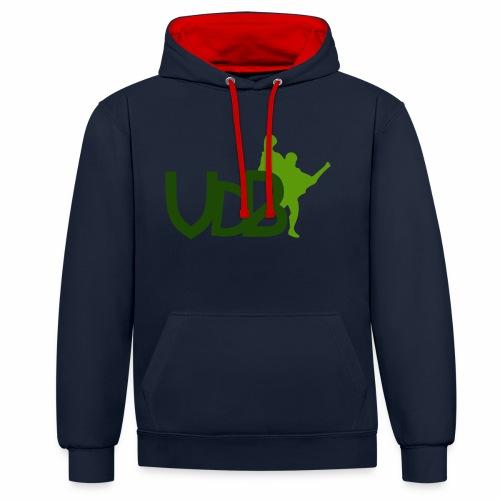VdB green - Felpa con cappuccio bicromatica