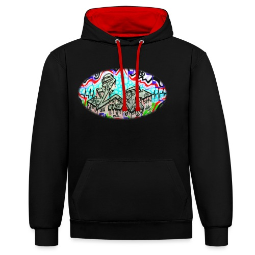 Across the Tracks Blur - Contrast Colour Hoodie