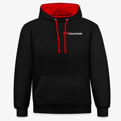 Kleines, weißes Fitvolution-Logo - Kontrast-Hoodie