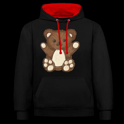 Knuffiger Teddybär - Kontrast-Hoodie