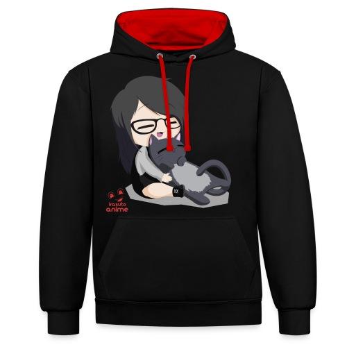Anime chibi chica y neko - Sudadera con capucha en contraste
