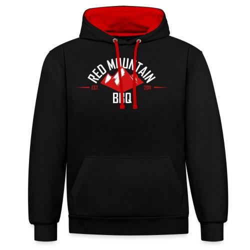 Redmountain-BBQ Logo weiß - Kontrast-Hoodie