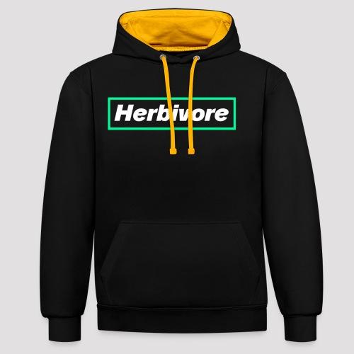 Herbivore Logo White - Felpa con cappuccio bicromatica