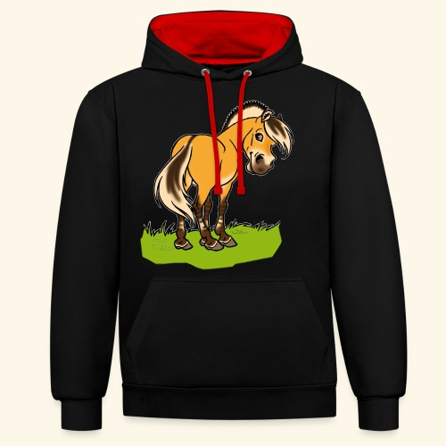 Freundliches Fjordpferd (Ohne Text) Weisse Umrisse - Sweat-shirt contraste