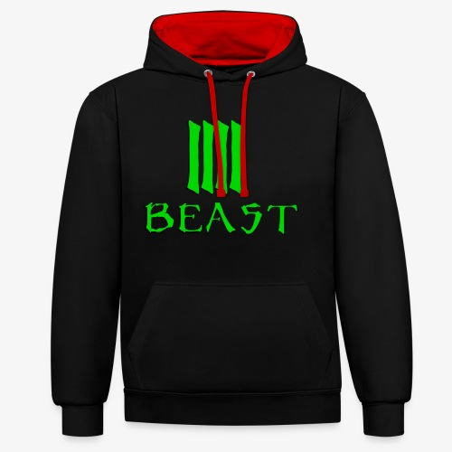 Beast Green - Contrast Colour Hoodie