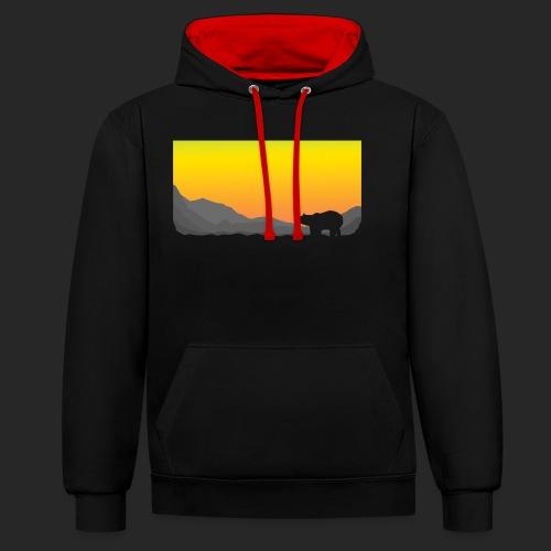 Sunrise Polar Bear - Contrast Colour Hoodie