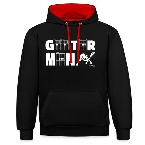 Geetar / Guitar Man in guitar chords - Contrast Colour Hoodie