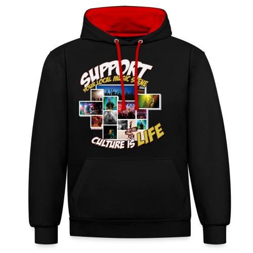 Support local music scene - Aktions-Shirt V2 - Kontrast-Hoodie