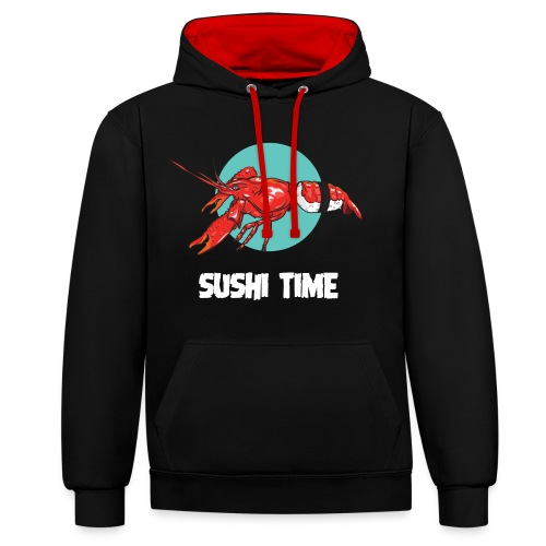 SUSHI TIME-gambero-b - Felpa con cappuccio bicromatica