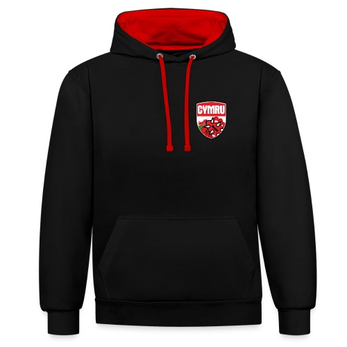 wales bloodbowl team logo complete - Contrast Colour Hoodie