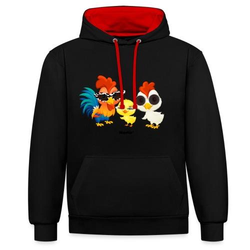 Kurczak - autorstwa Momio Designer Emeraldo. - Bluza z kapturem z kontrastowymi elementami