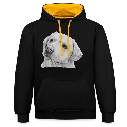 labrador retriever yellow - head - Kontrast-hættetrøje