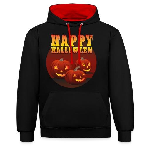 Happy Halloween med pumpor - Kontrastluvtröja