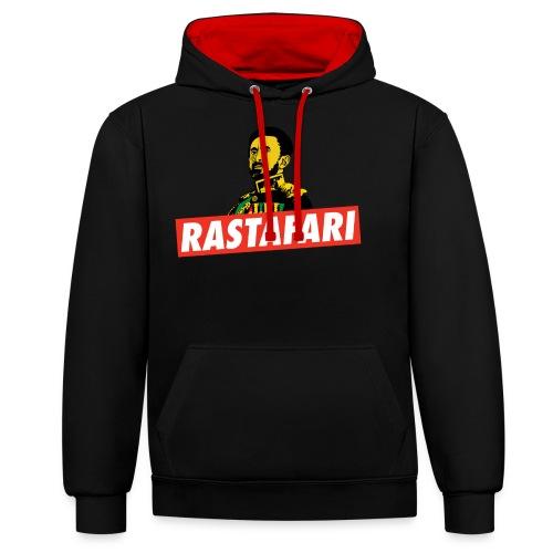 Rastafari - Haile Selassie - HIM - Jah Rastafara - Kontrast-Hoodie