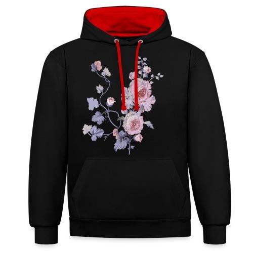 Schlichte Blumen - Kontrast-Hoodie