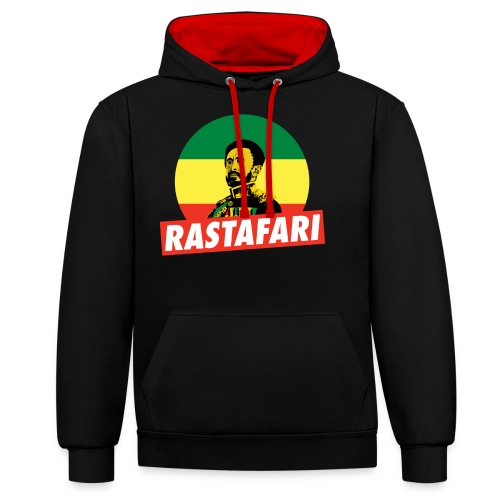 Haile Selassie - Emperor of Ethiopia - Rastafari - Kontrast-Hoodie