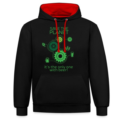 Save the planet - Contrast Colour Hoodie