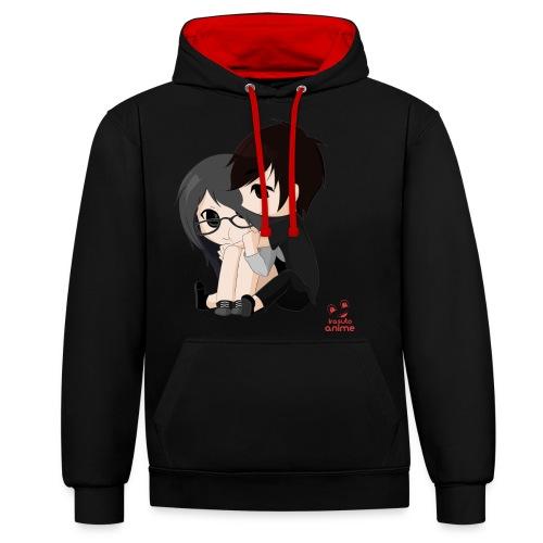 otaku anime pareja chibi kawaii - Sudadera con capucha en contraste