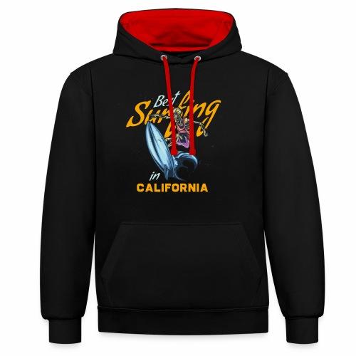 Surfing in California - Kontrast-Hoodie