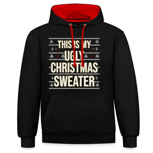 Ugly xmas Christmas Weihnachten Sweater Lustig - Kontrast-Hoodie