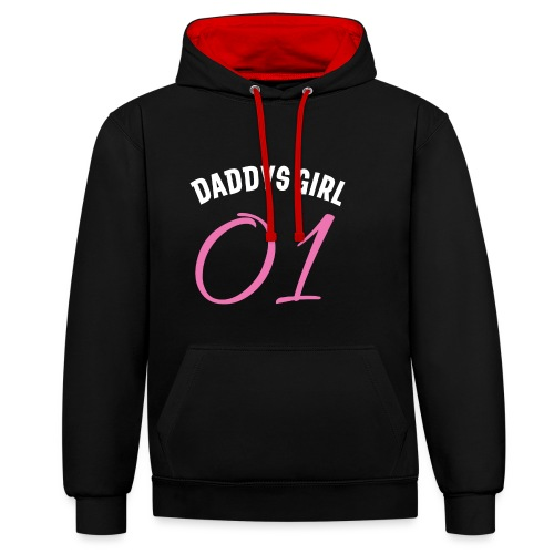 Vater Tochter Partnerlook Outfit Daddys Girl 01 - Kontrast-Hoodie