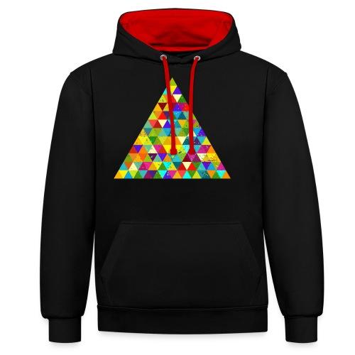 Dreieck Geek Hipster Ornament Grunge Regenbogen - Contrast Colour Hoodie