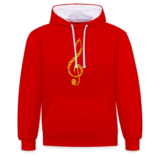 Goldenes Musik Schlüssel Symbol Chopped Up - Contrast Colour Hoodie