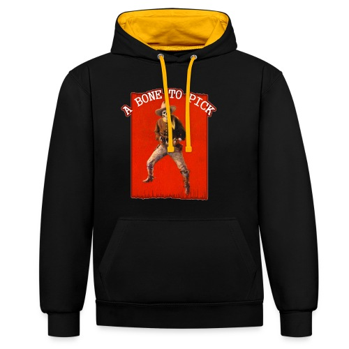 Vintage Skeleton Outlaw Cowboy - Contrast Colour Hoodie