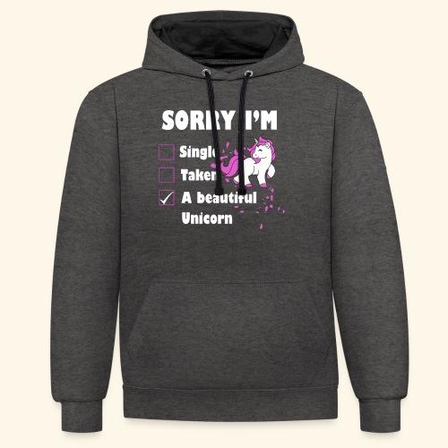 lustiges Beziehung Einhorn T-Shirt - Kontrast-Hoodie