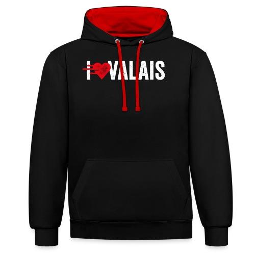 I LOVE VALAIS - Kontrast-Hoodie