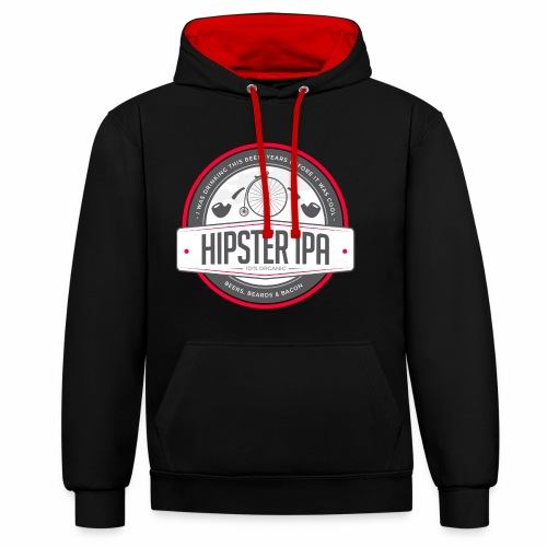 Hipster IPA - Contrast Colour Hoodie