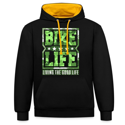 Bikelife Green Camo - Contrast Colour Hoodie