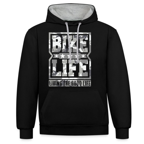 Bikelife White Camo - Contrast Colour Hoodie