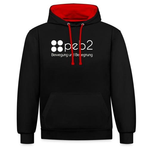 Logo peb2 weiss - Kontrast-Hoodie