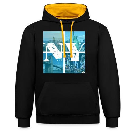 NEW YORK BLUE - Kontrast-Hoodie