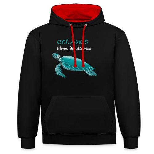Océanos libres de plástico - Sudadera con capucha en contraste