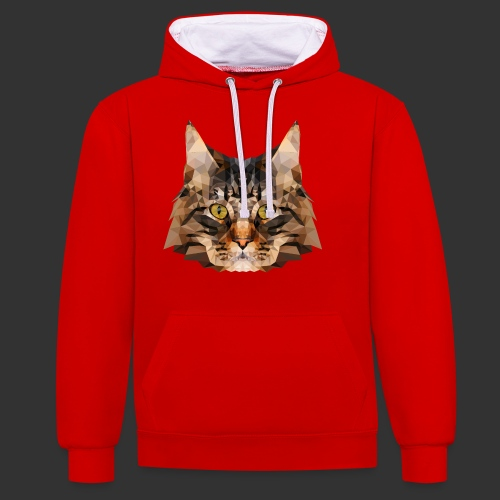 Chat LowPoly - Sweat-shirt contraste