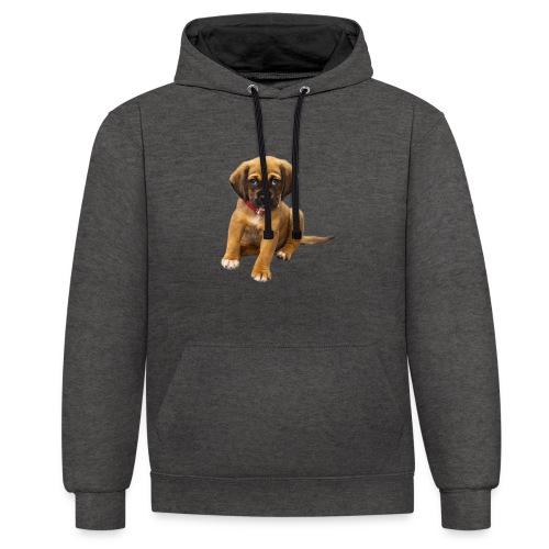 Süsses Haustier Welpe - Kontrast-Hoodie