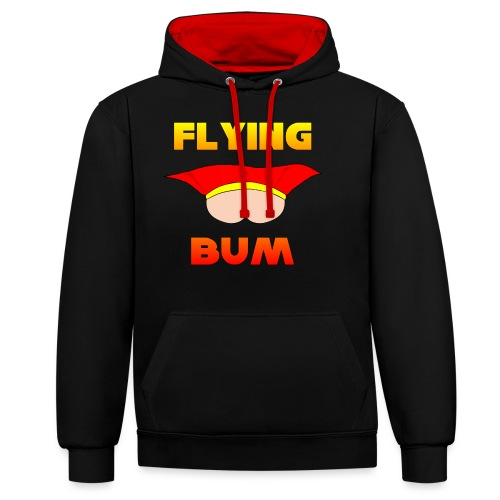 Flying Bum (face on) with text - Contrast Colour Hoodie