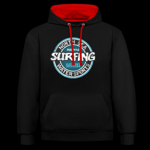 North Sea Surfing (oldstyle) - Contrast Colour Hoodie