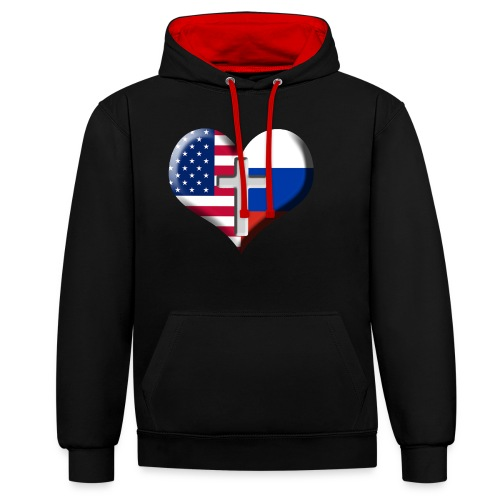 USA and Russia Heart with Cross - Contrast Colour Hoodie