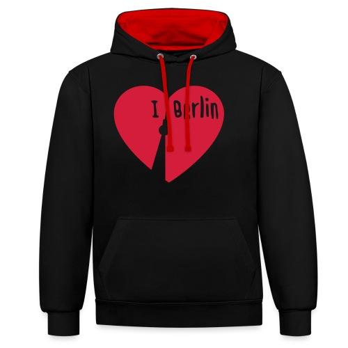 I love Berlin (1-farbig) - Kontrast-Hoodie