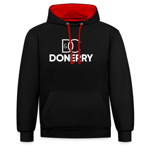 DONERRY New White Logo on Dark - Contrast Colour Hoodie