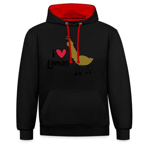 I love Lamas - Kontrast-Hoodie