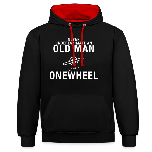Old Man with an Onewheel - Kontrast-hættetrøje