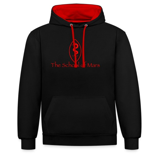 SoM Crest (Red) w/ Text - Contrast Colour Hoodie